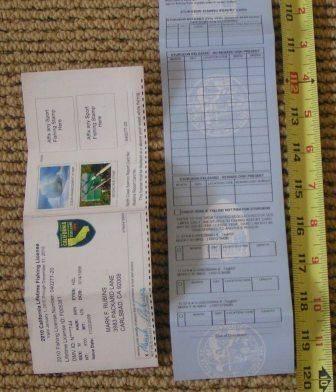 CA DFG 2011 Fishing license 10 feet long | Bloodydecks