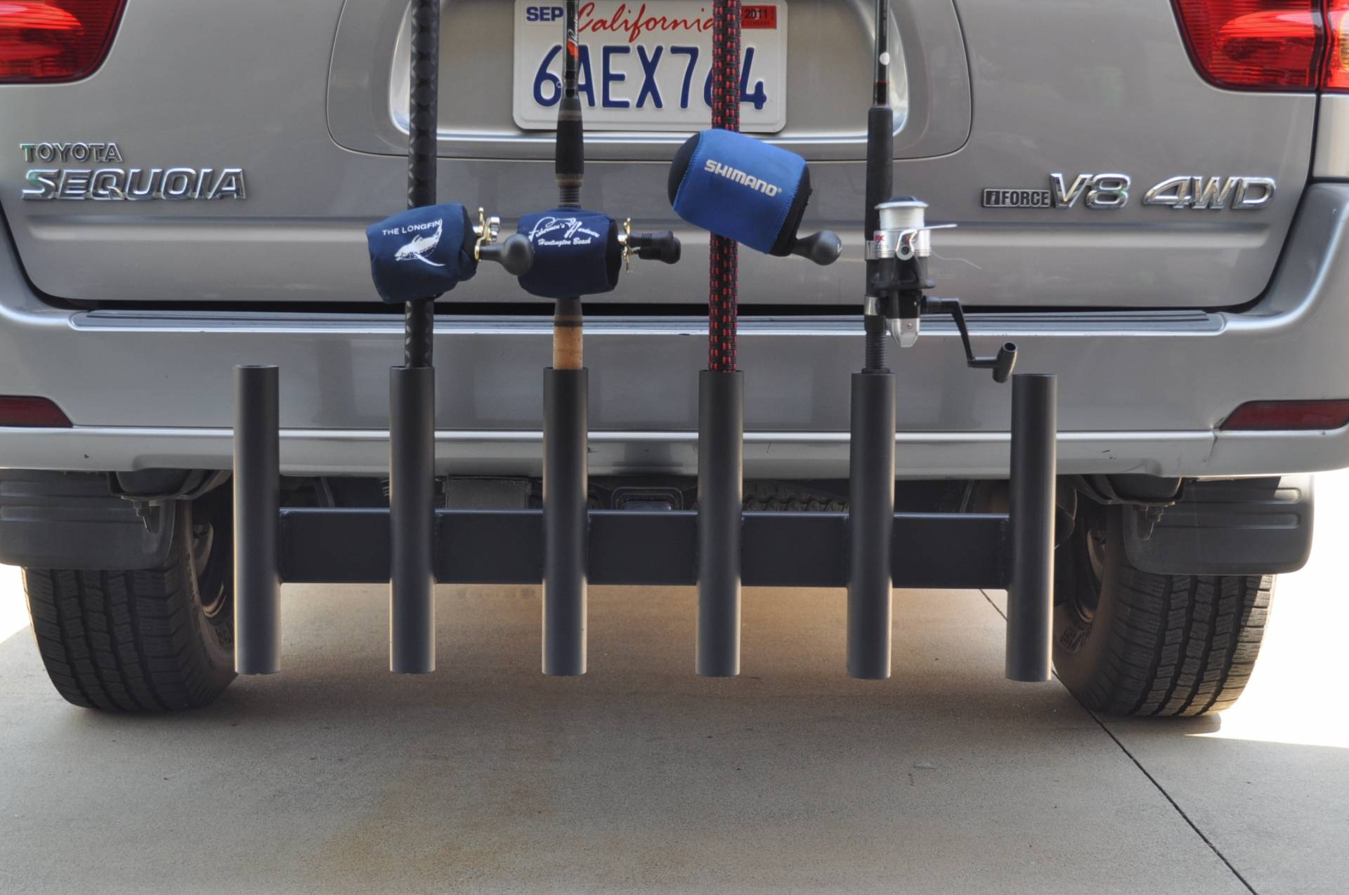 Hitch mounted 6 rod holder custom made saltwater for Hitch fishing rod holder