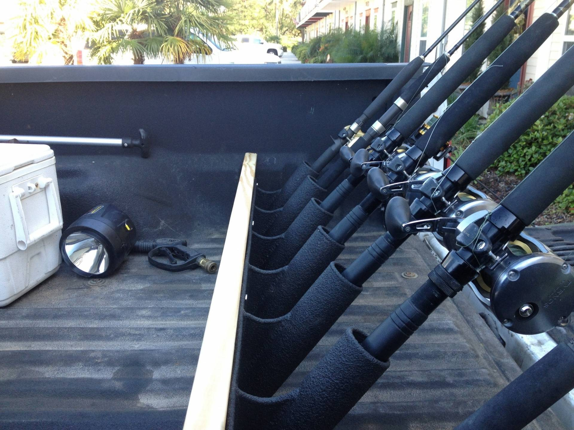 Truck bed rod holders rod rack bloodydecks for How many fishing rods per person in texas