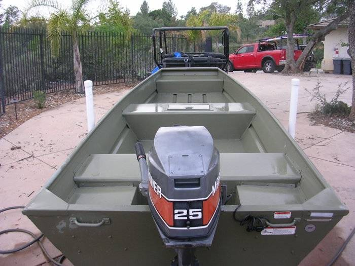 15' Tracker Topper 1542 Jon Boat, 25 hp Mariner, & Trailer