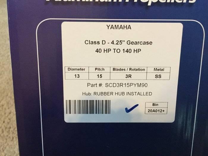 PowerTech SCD3 15p Stainless Prop for Yamaha BNIB $200