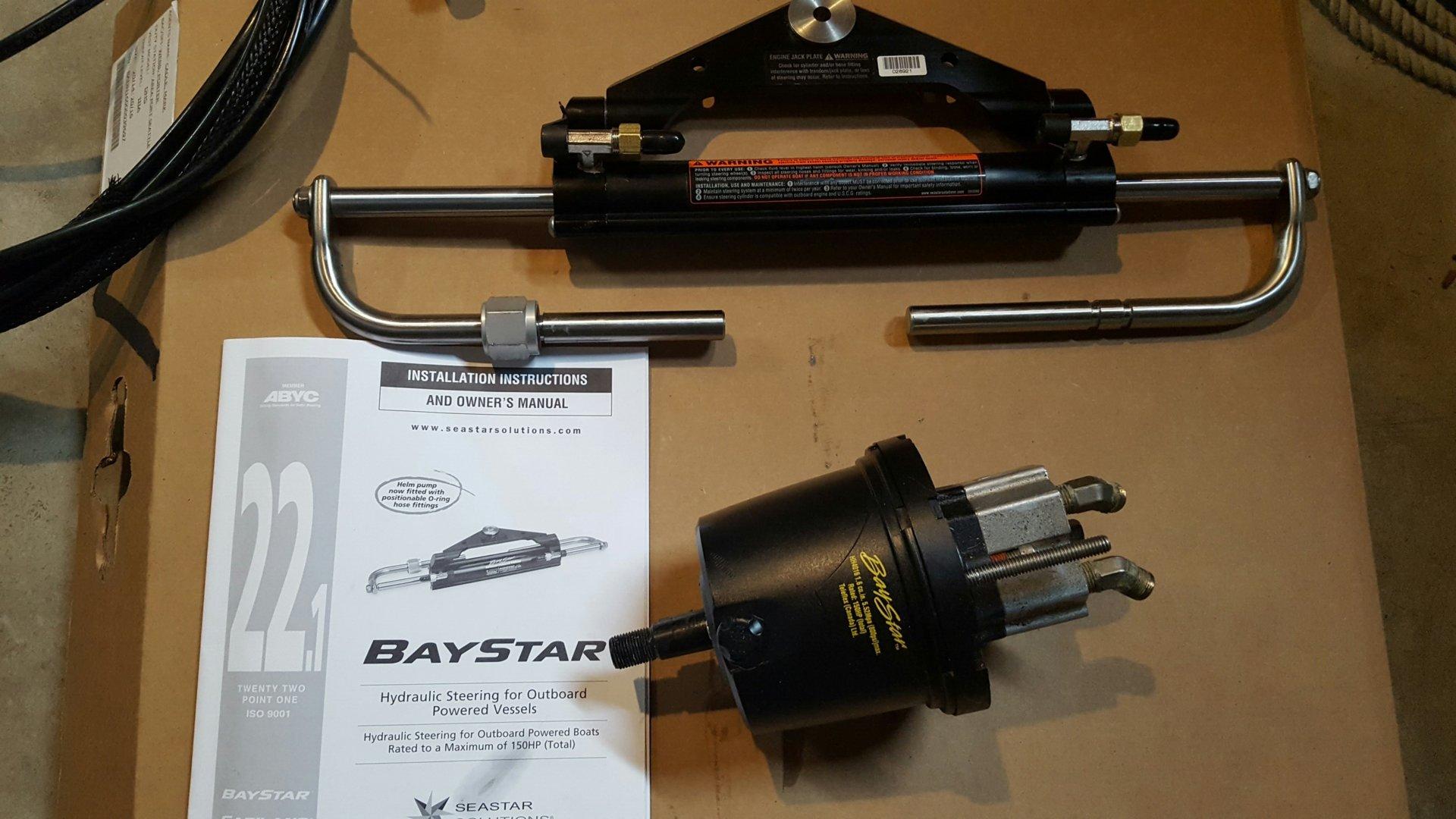 New Baystar Hydraulic steering cylinder, used pump and hoses