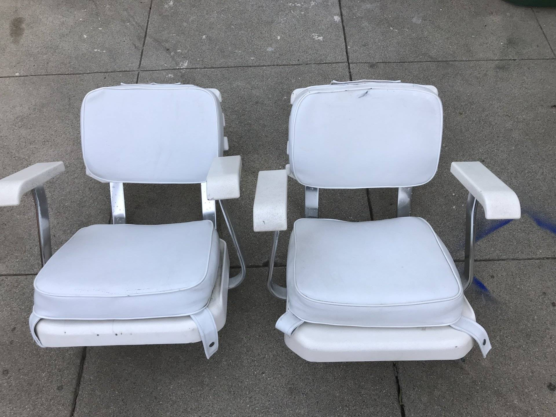 Two Pompanette Ladder Back Helm Seats With Cushions And Slider. In Good  Condition. Both Seats For $400.00 OBO