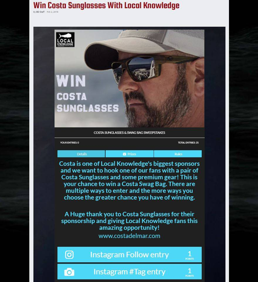 Follow LK On Instagram for a Chance To Win Costa Sunglasses